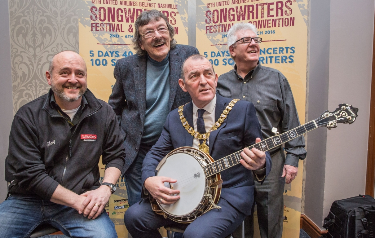 Les Hume Dawsons Music Big T Downtown Radio Lord Mayor Councillor Arder Carson Colin Magee Belfast Nashville
