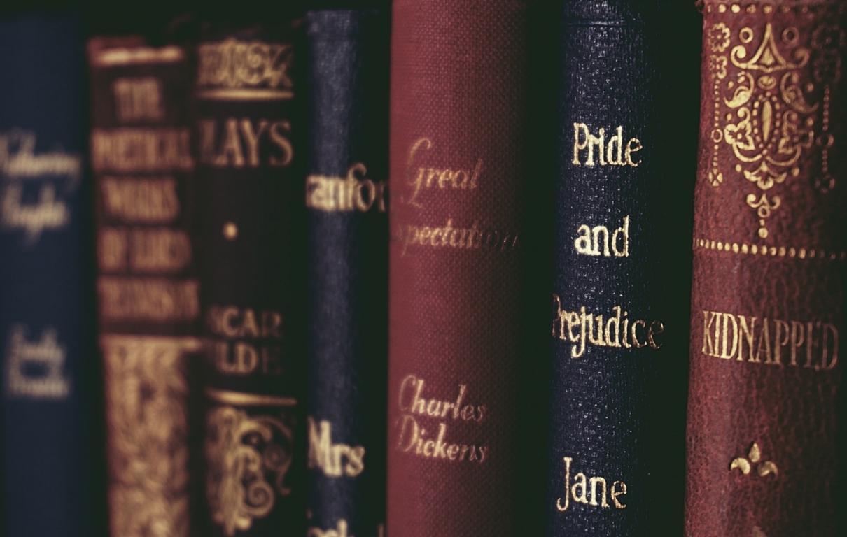 Close up of books on shelf 1560093